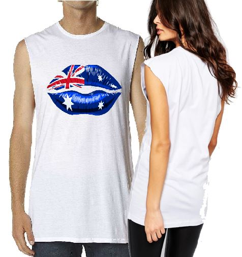 T-Shirt Tank or Cut Sleeve - Aussie Flag Lips - ASC T-Shirts - aussie-shirt-co