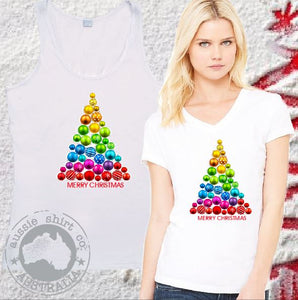 Womens Christmas T-Shirts and Tanks - CHRISTMAS BALLS