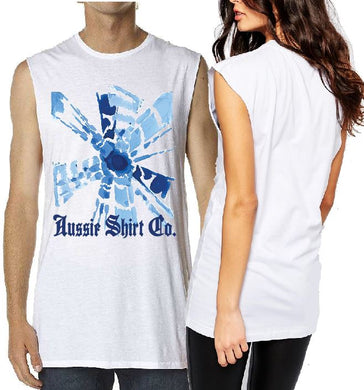 T-Shirt Tank or Cut Sleeve - Tie Dye Blue Fan - ASC T-Shirts - aussie-shirt-co