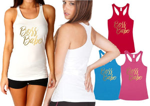 Ladies Tback Singlet - Aus Fit Boss Babe - ASC T-Shirts - aussie-shirt-co