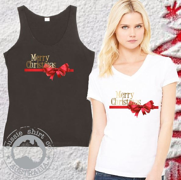 Womens Christmas Shirts - REDBOW Merry Christmas - Singlet, Tank or Cut Sleeve