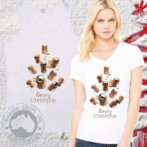 Mens Womens Christmas T-Shirts and Tanks - Champagne Tree