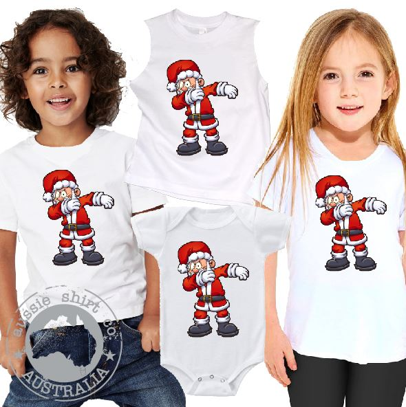 Kids Christmas T-Shirt Tank or Romper - Cheeky Dabbing Santa