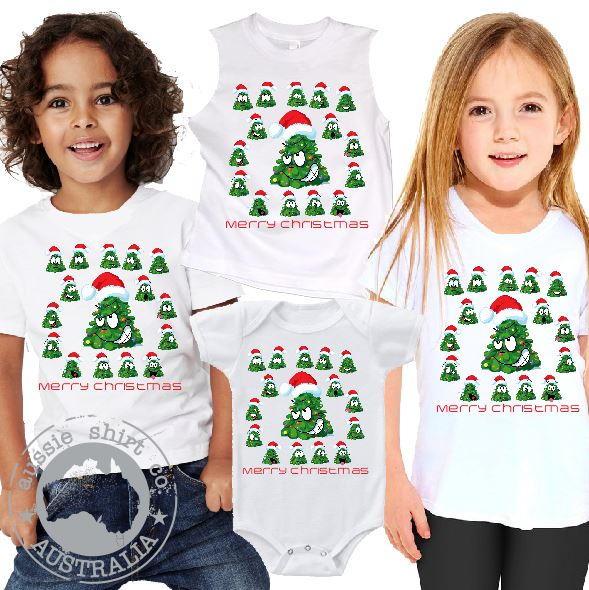 Kids Christmas T-Shirt Tank or Romper - Cheeky Emoji Tree