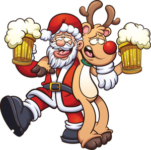 Santa and Rudolf Drinking Beer Christmas Shirts - aussie-shirt-co