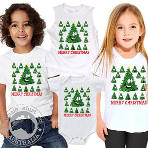Kids Christmas T-Shirt Tank or Romper - Emoji Tree