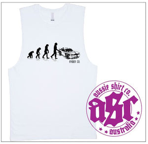 Mens Womens Cut Sleeve or T-Shirt - Evolution to Muscle Car - ASC T-Shirts - aussie-shirt-co
