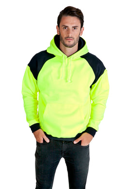 Design Your Own - Hi Vis Mens Shoulder Contrast Panel Hoodie - WORKWEAR - Ramo