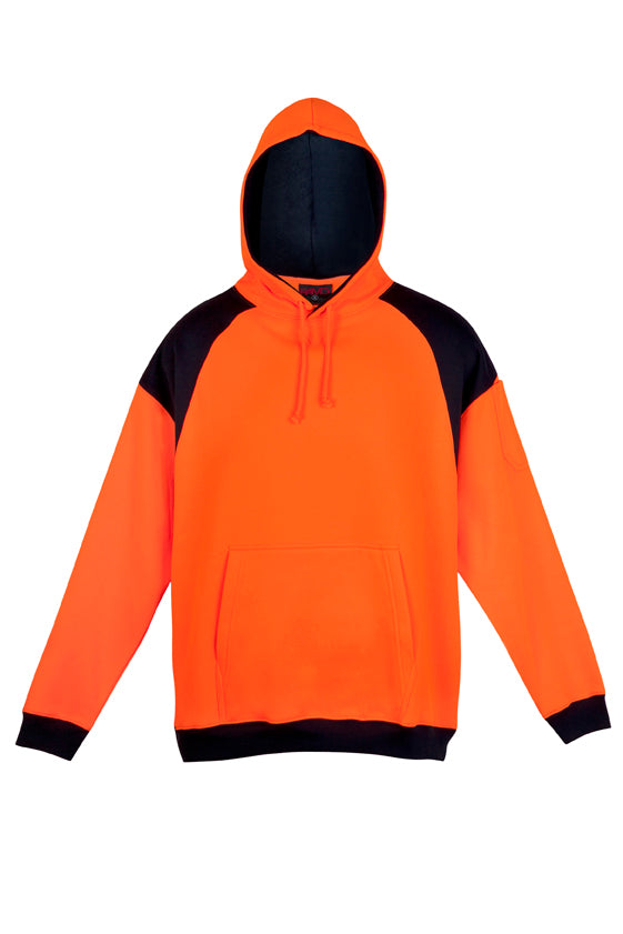 Hi Vis Mens Shoulder Contrast Panel Hoodie - WORKWEAR - Ramo