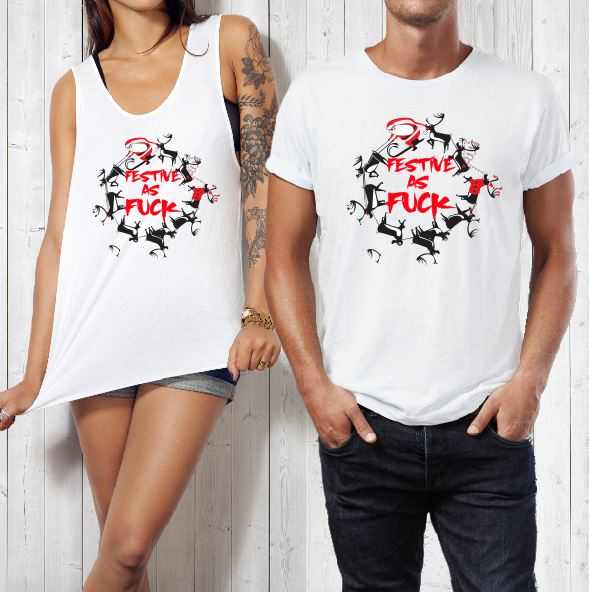 Mens Womens Christmas Shirts - Festive as F*ck