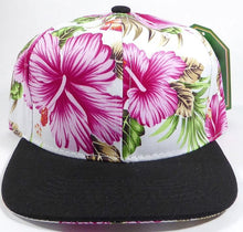 Load image into Gallery viewer, KIDS Jr. Snapback Caps - White|Pink Hawaiian Hibiscus - Black Brim - aussie-shirt-co