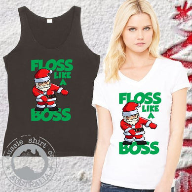 Christmas Shirts Floss Like a Boss Santa - Ladies Tee or Tank