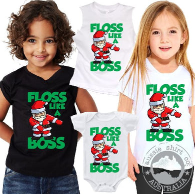 Christmas T-Shirt or Tank - Floss Like a Boss Santa - ASC  Kids T-Shirts