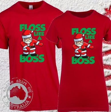 Christmas - Red - T-shirts - Floss Like a Boss Santa - ASC