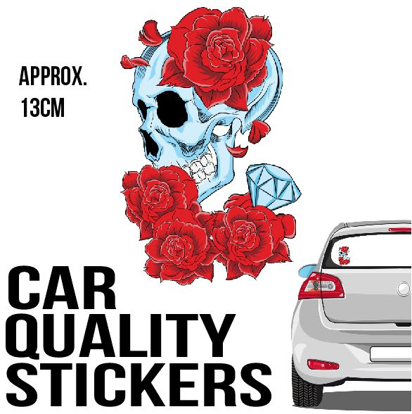Red Rose Skull - Sticker - Car or Wall Decal - ASC Stickers - aussie-shirt-co
