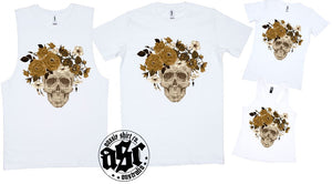 FLOWER SKULL BROWN PRINT - aussie-shirt-co