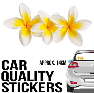 Frangipani Sticker - Car Decal - 3 Yellow Flowers - aussie-shirt-co