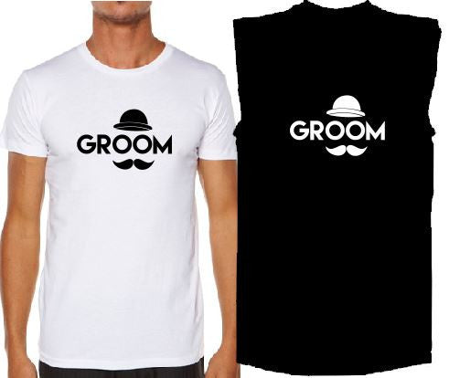 Bucks N Hens - Moustache Groom Tank or T-Shirt - ASC - aussie-shirt-co