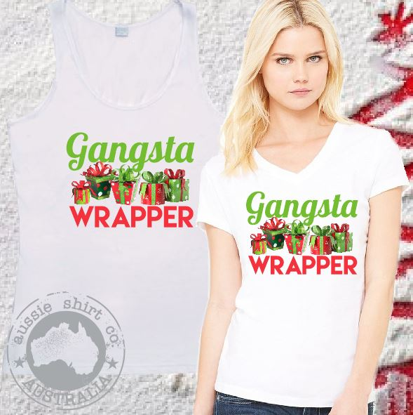 Womens Christmas T-Shirts or Tanks - Gangsta Wrapper