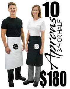 Restaurant Aprons Half or 3/4 10 PACK 100% Cotton - ASC Promotions - aussie-shirt-co
