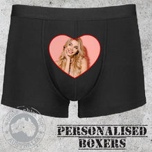 Load image into Gallery viewer, Personalised Mens boxer shorts underwear christmas valentines anniversary wedding gift