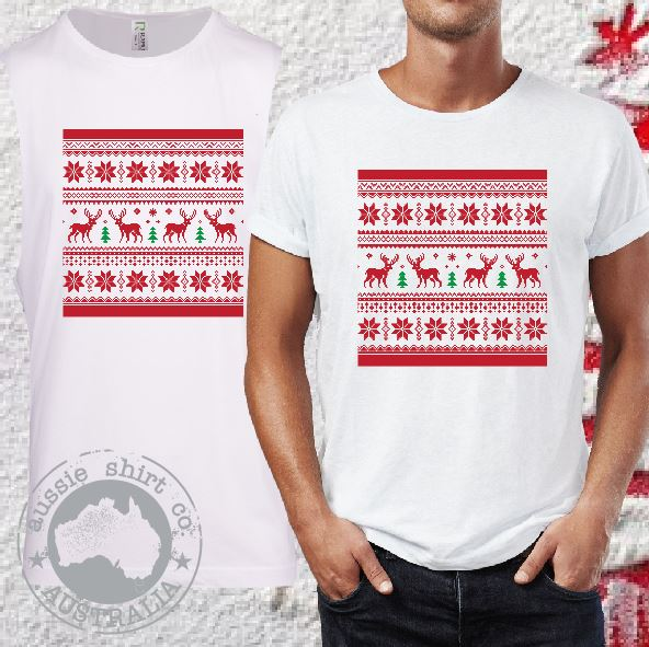 Mens T-Shirt or Tank - Christmas Jumper Print 2