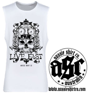 Cut Sleeve Tank Top - Live Fast Print - ASC T-Shirts - aussie-shirt-co