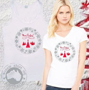 Womens T-shirt or Tank - Merry Christmas Wreath