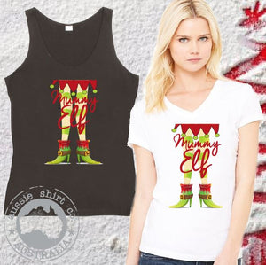 Womens Christmas T-Shirt or Tank - Mummy Elf
