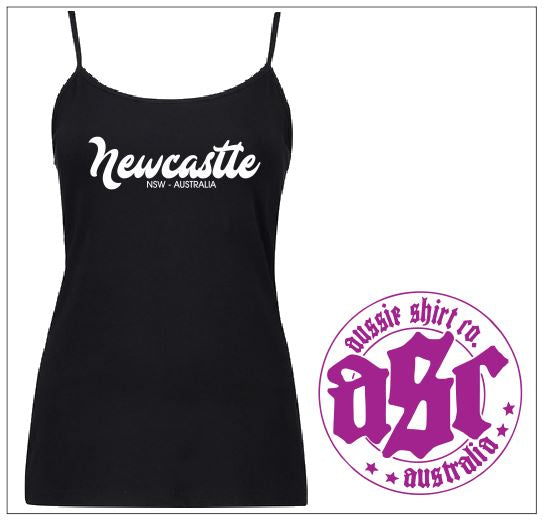 Ladies Black Singlet - NEWCASTLE - ASC T Shirts - aussie-shirt-co