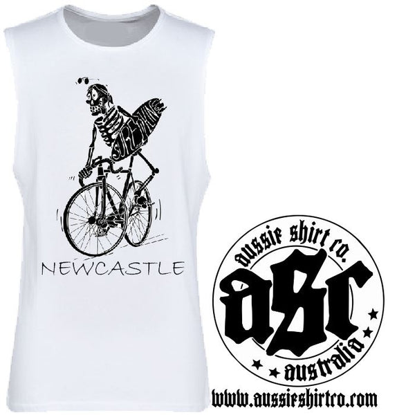 T-Shirt or Cut Sleeve - Newcastle (or your Town) Skeleton Surfer - ASC T-Shirts - aussie-shirt-co