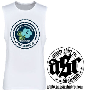 T-Shirt Tank or Cutsleeve  - Gone Surfing - Newcastle Blue Frangipani - aussie-shirt-co