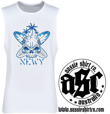T-Shirt Tank or Cutsleeve  - Blue Skull Surf Newy - ASC T-Shirts - aussie-shirt-co
