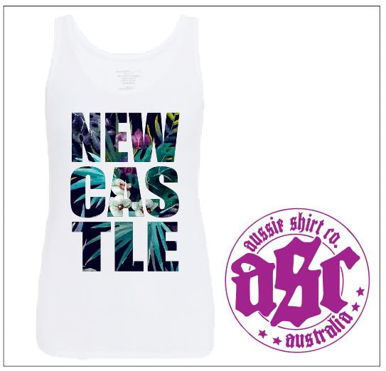 NEWCASTLE ORCHID PRINT LADIES TANK - aussie-shirt-co