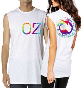 T-Shirt Tank or Cut Sleeve - OZ -  ASC Tie Dye Print - aussie-shirt-co