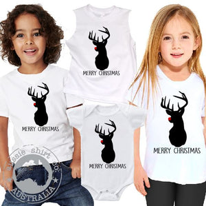 Kids Christmas T-Shirt Tank or Romper - Red Nose Reindeer