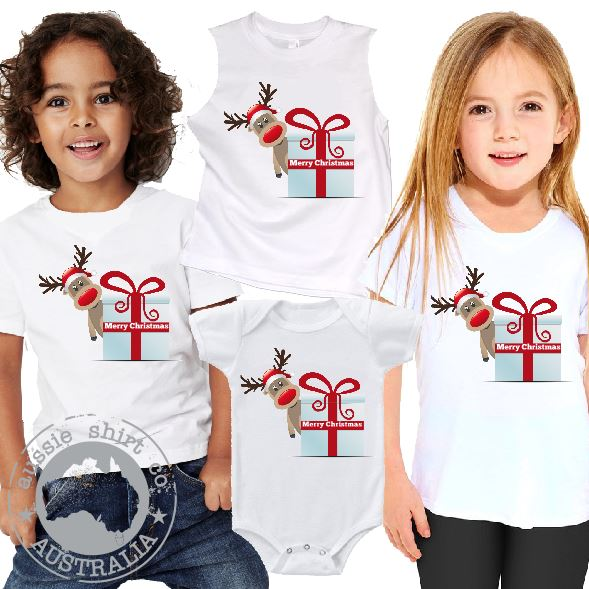 Kids Christmas T-Shirt Tank or Romper - Reindeer Gift