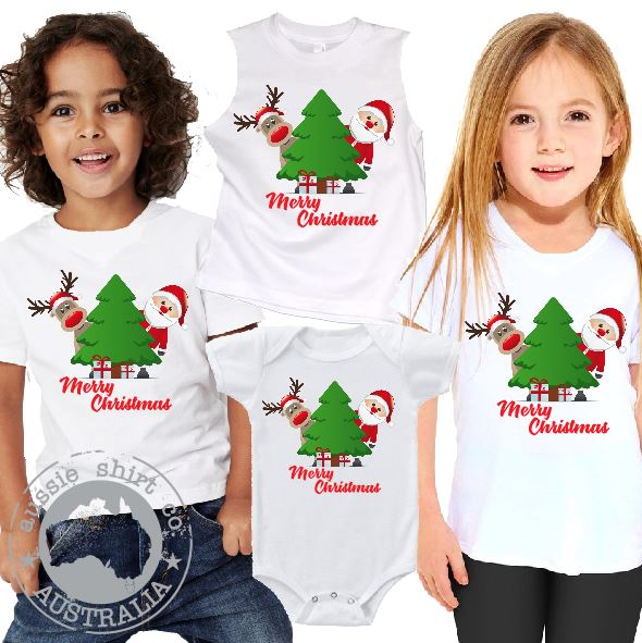 Kids Christmas T-Shirt Tank or Romper - Santa Reindeer Tree