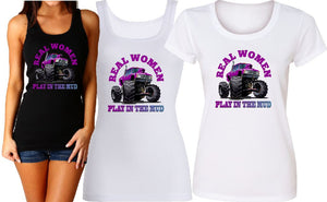 REAL WOMEN PLAY IN MUD PUDDLES TANK or TEE - aussie-shirt-co
