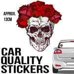 Skull with Red Rose Head Band - Sticker - Car or Wall Decal - ASC Stickers - aussie-shirt-co