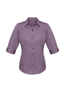trend anything but boring business cotton shirts blends polyester semi fitted female women 3/4 sleeve