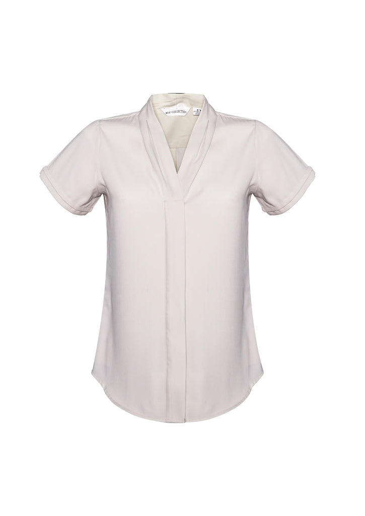 madison health aged care business school education shirts blush pink polyester semi fitted female women