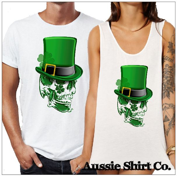 St Patricks  Day T-Shirts - St Patricks Skull and Top Hat - aussie-shirt-co