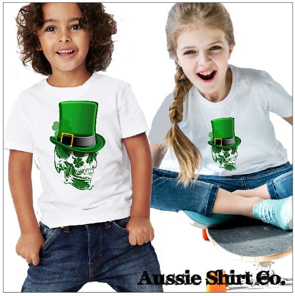 St Patricks Day T-Shirts - Skull in Green Top Hat - ASC Kids - aussie-shirt-co