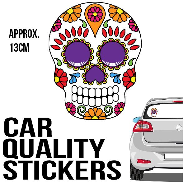 Sugar Skull - Sticker - Car or Wall Decal - ASC Stickers - aussie-shirt-co