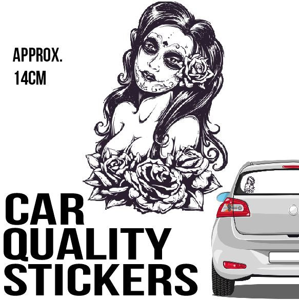 Sugar Skull Chic - Sticker - Car or Wall Decal - ASC Stickers - aussie-shirt-co