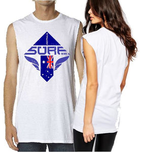 T Shirt Tank Cut Sleeve - Surf Australia Print - ASC T-Shirts - aussie-shirt-co