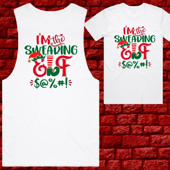 Womens T-shirt or Tank - Christmas - Swearing Elfin