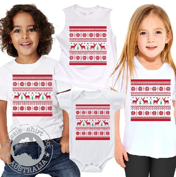 Kids Christmas T-Shirt Tank or Romper - Traditional Pattern