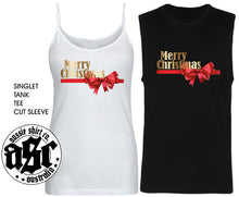 Load image into Gallery viewer, Womens Christmas  Shirt - GOLD BOW Merry Christmas - Singlet, Tank or Cut Sleeve - aussie-shirt-co